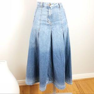 Soft Surroundings Ombré Dip Dyed Denim Midi Skirt